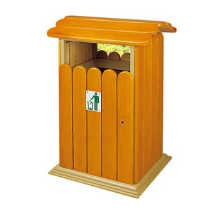 Outdoor waste can with plastic wood for garden HW-76