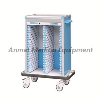 hospital case history cart with rolling door lock