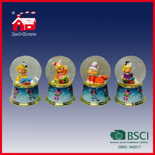 Cute Figures in Glass Water Globe on Printed Base with LED Lights and Blowing Snow