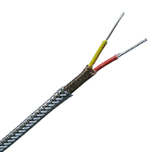 High temperature fiberglass insulated with metal overbraid thermocouple extension wire