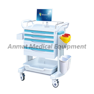 Top class medical/hospital ABS Wireless Nursing Trolley with four castor