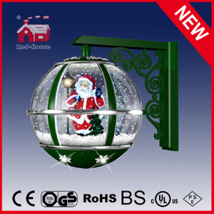 (LW30033D-GS11) Santa Claus Inside Green Wall Lamp with Eight LED Lights