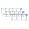 Folded aluminum hospital bed side rail with blue