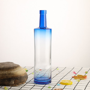 750ml Blue Color Glass Bottle for Spirits
