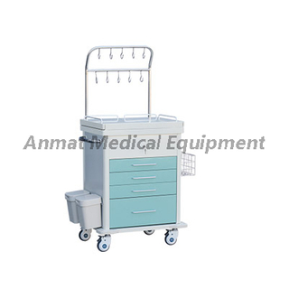 Steel plastic medical first aid trolley with iv pole