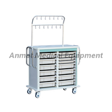 Double layer IV treatment cart with utility baskets