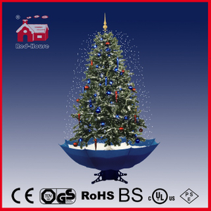 (40110U170-BW) Snowing Christmas Tree with Umbrella Base