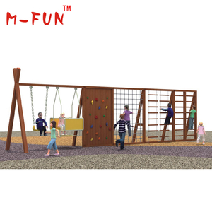 Kids wooden playground with climbing step and swing